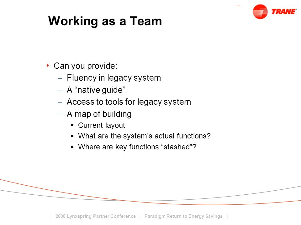 Working as a Team Can you provide: Fluency in legacy system