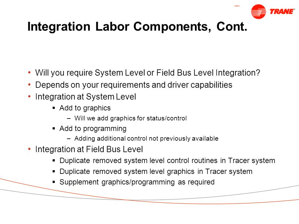 Integration Labor Components, Cont.