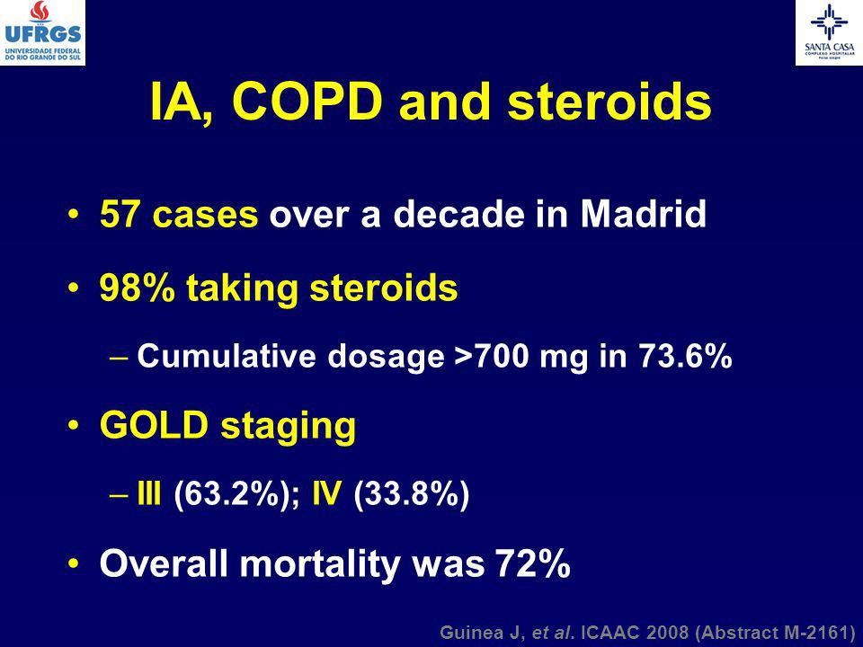 IA, COPD and steroids 57 cases over a decade in Madrid
