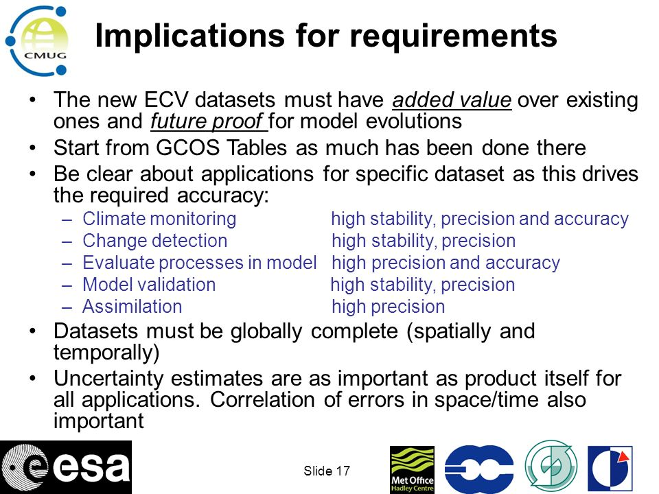 Implications for requirements