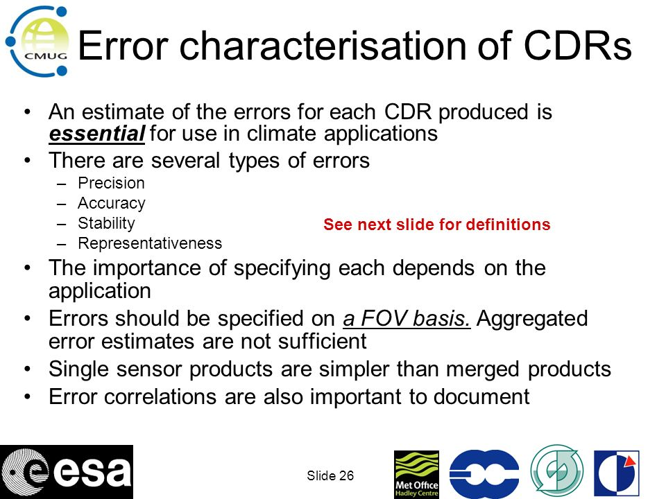 Error characterisation of CDRs