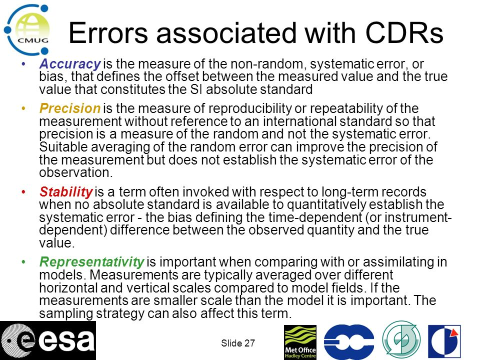Errors associated with CDRs