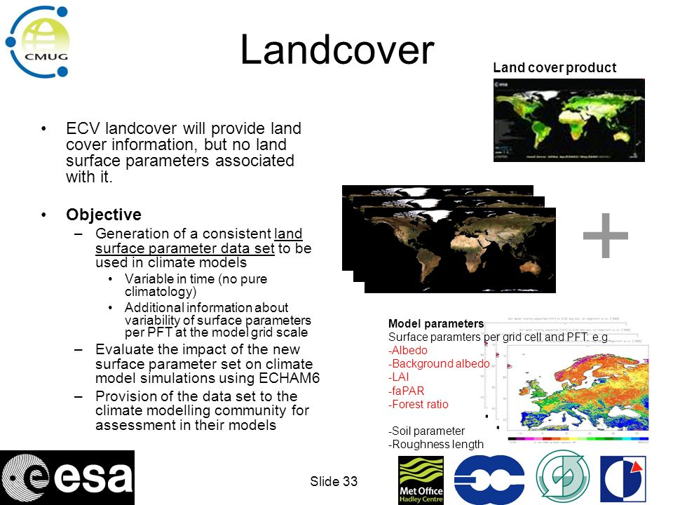 Landcover Land cover product. ECV landcover will provide land cover information, but no land surface parameters associated with it.