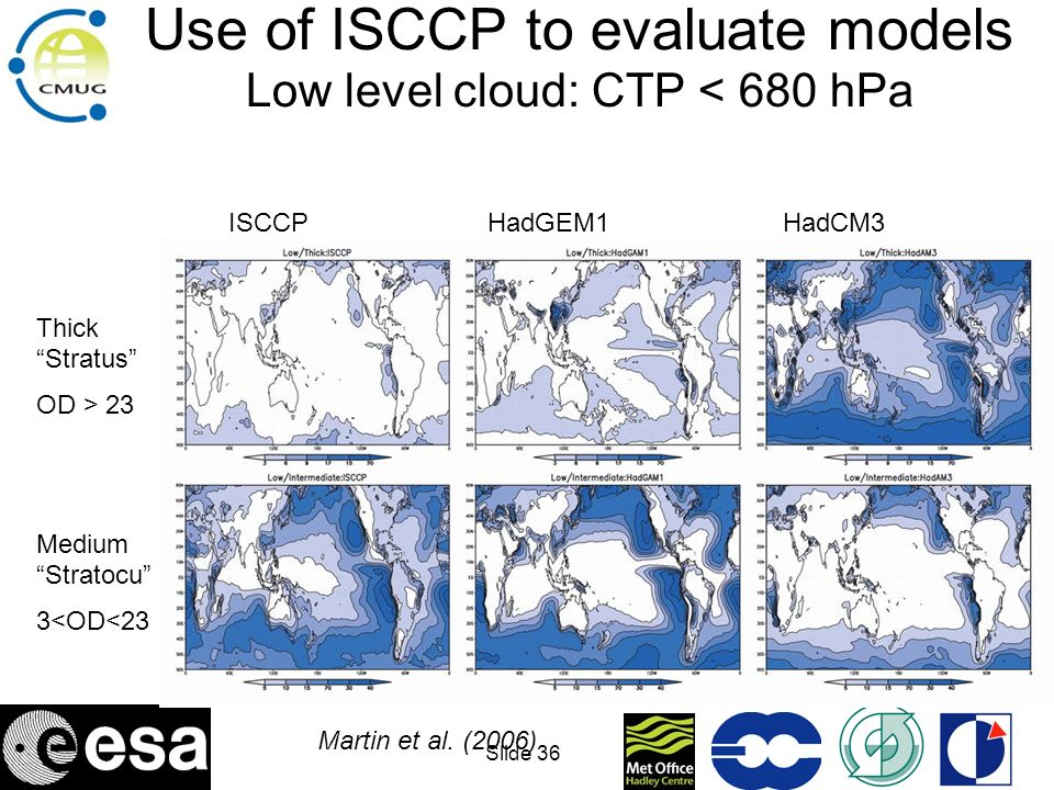 Use of ISCCP to evaluate models Low level cloud: CTP < 680 hPa