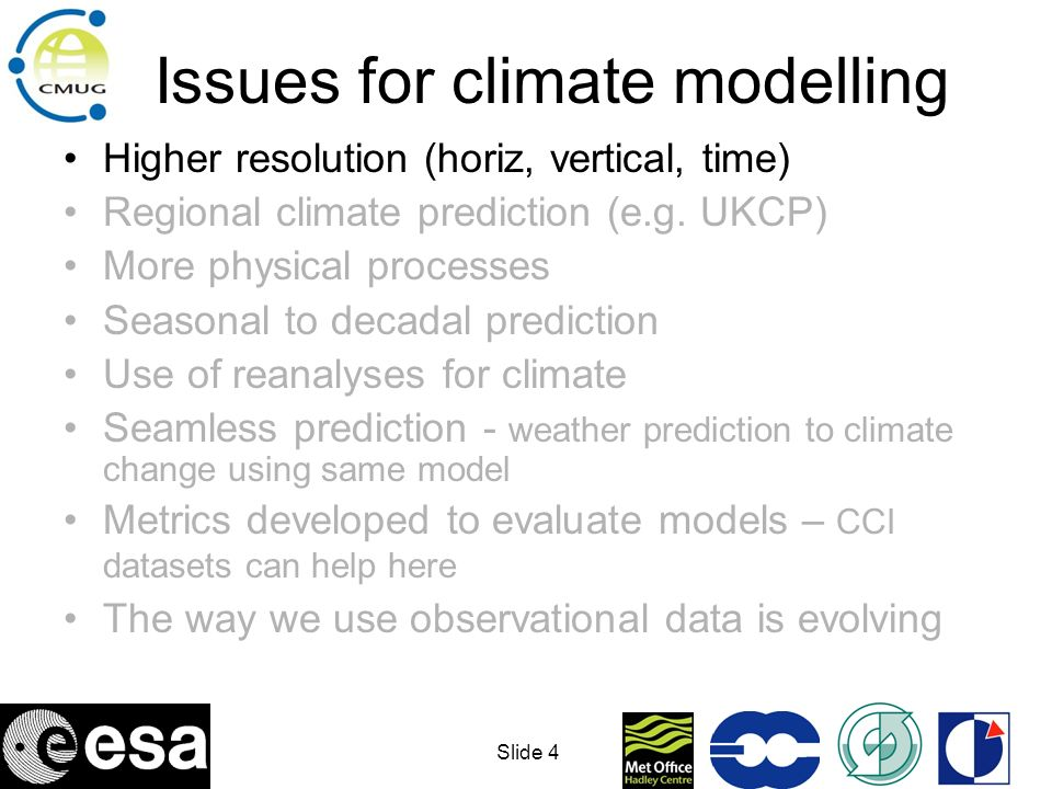 Issues for climate modelling