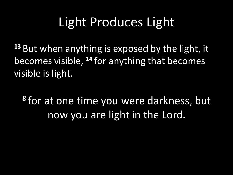 Light Produces Light 13 But when anything is exposed by the light, it becomes visible, 14 for anything that becomes visible is light.