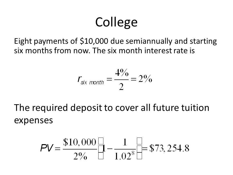 College The required deposit to cover all future tuition expenses