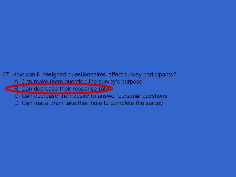 67. How can ill-designed questionnaires affect survey participants