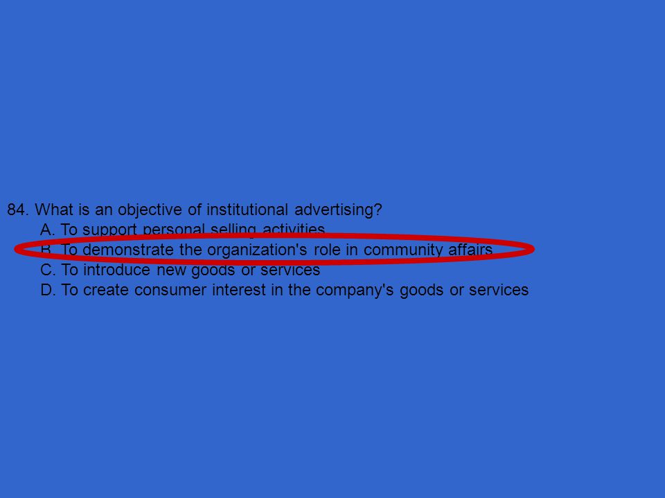 84. What is an objective of institutional advertising