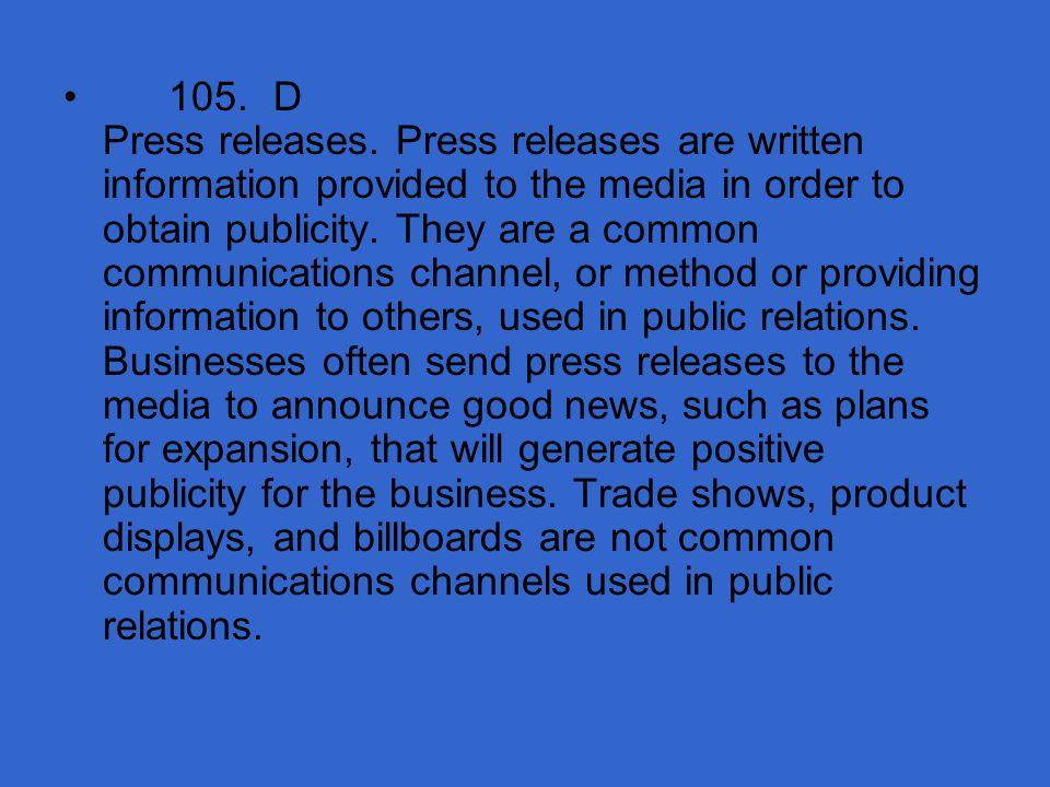 105. D Press releases.