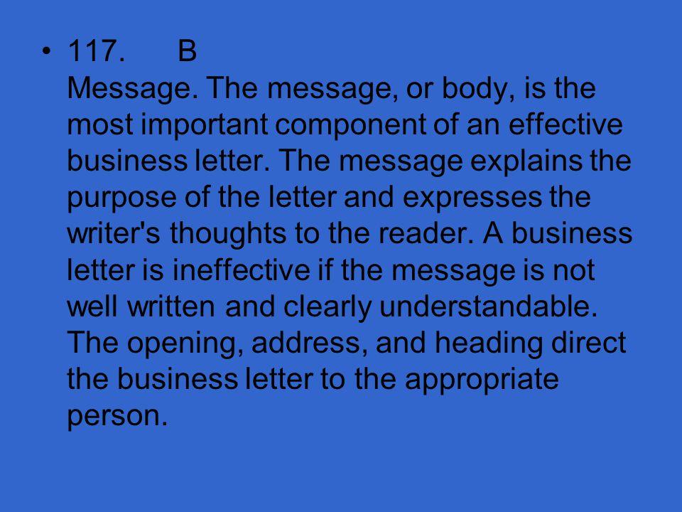 117. B Message.