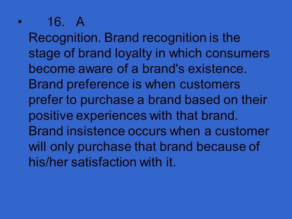 16. A Recognition.