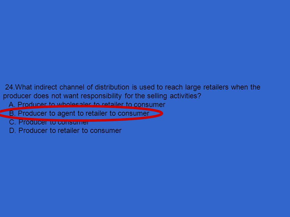 24.What indirect channel of distribution is used to reach large retailers when the producer does not want responsibility for the selling activities