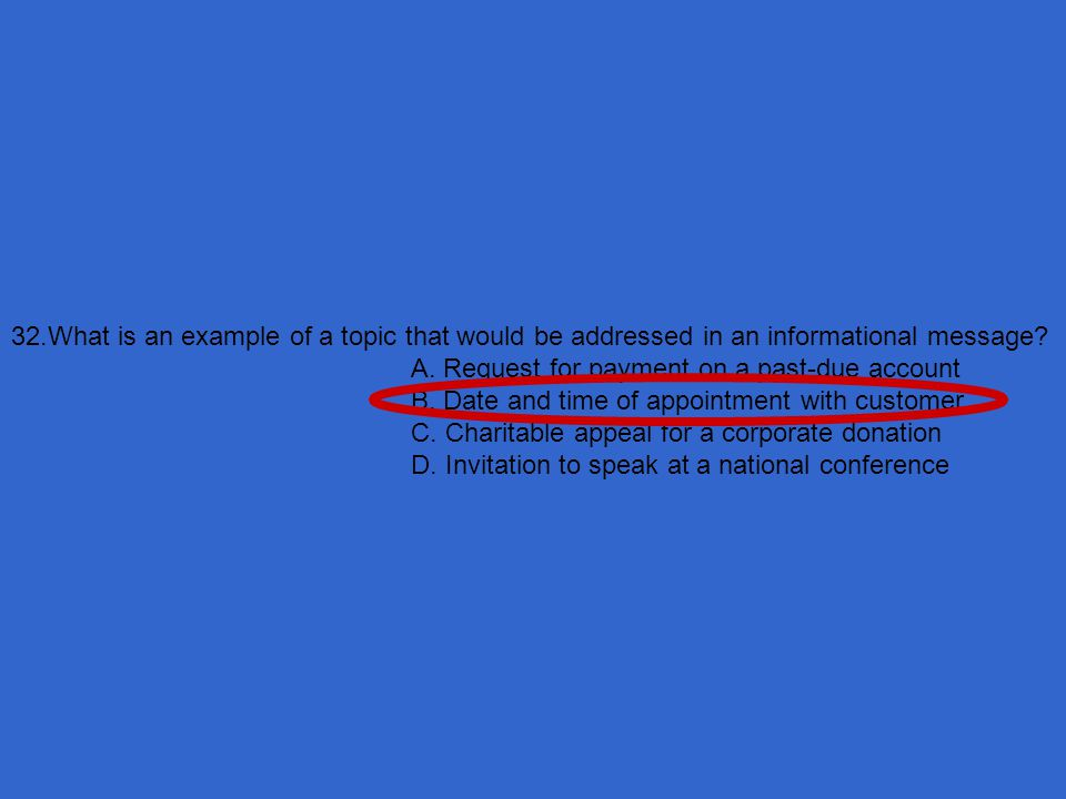 32.What is an example of a topic that would be addressed in an informational message