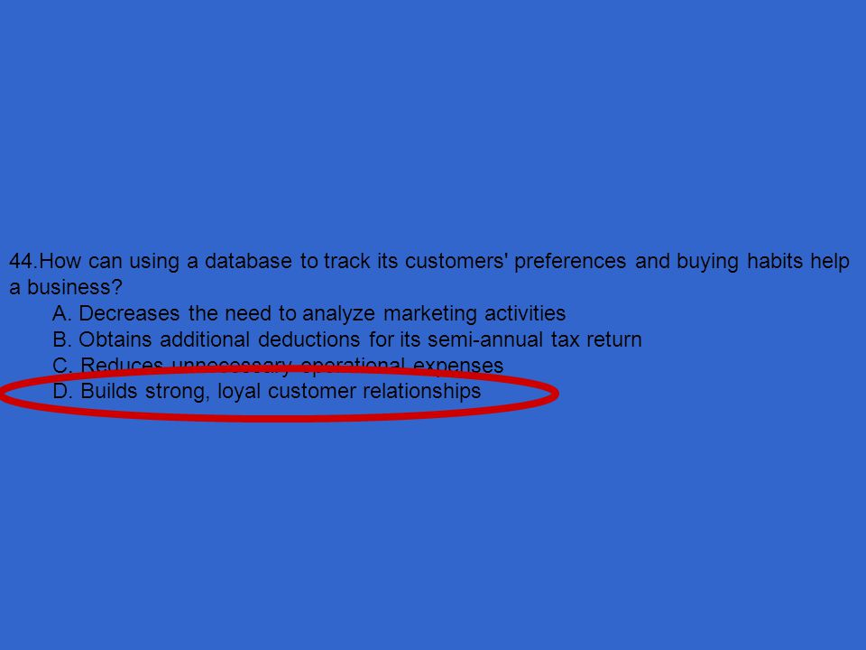44.How can using a database to track its customers preferences and buying habits help a business