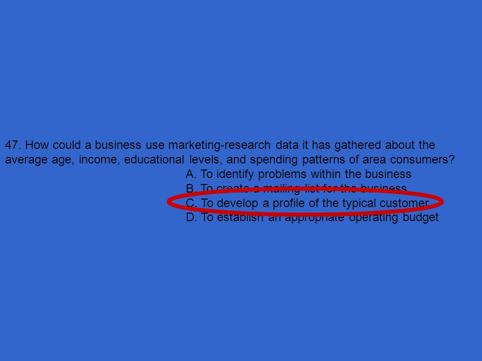 47. How could a business use marketing-research data it has gathered about the average age, income, educational levels, and spending patterns of area consumers