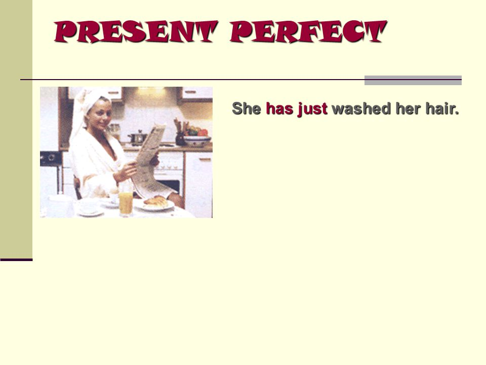 PRESENT PERFECT She has just washed her hair.