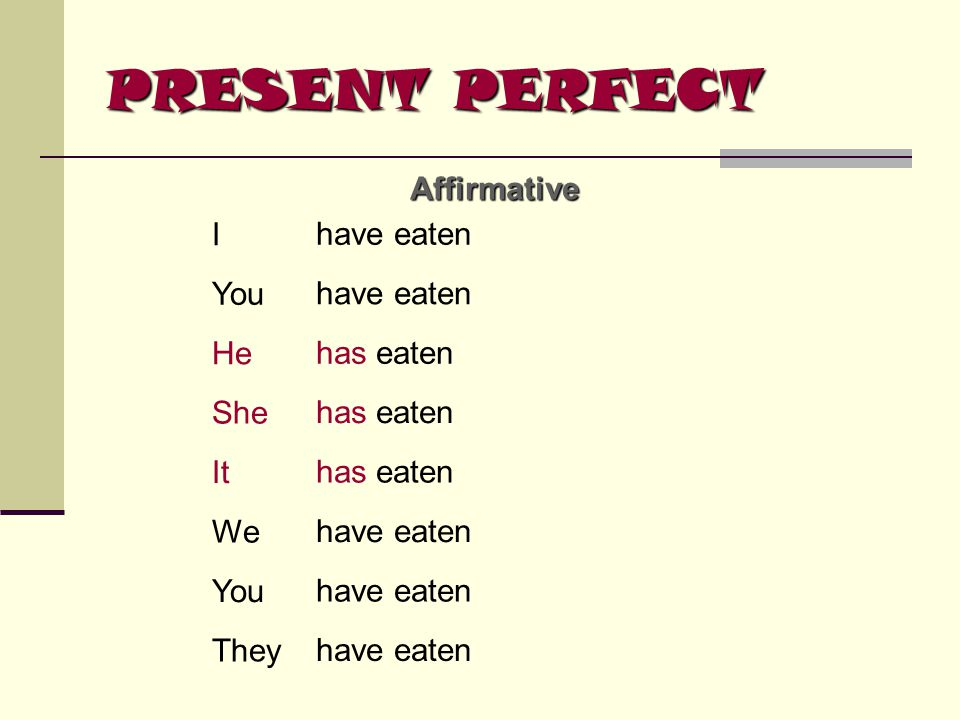 PRESENT PERFECT Affirmative I have eaten You have eaten He has eaten