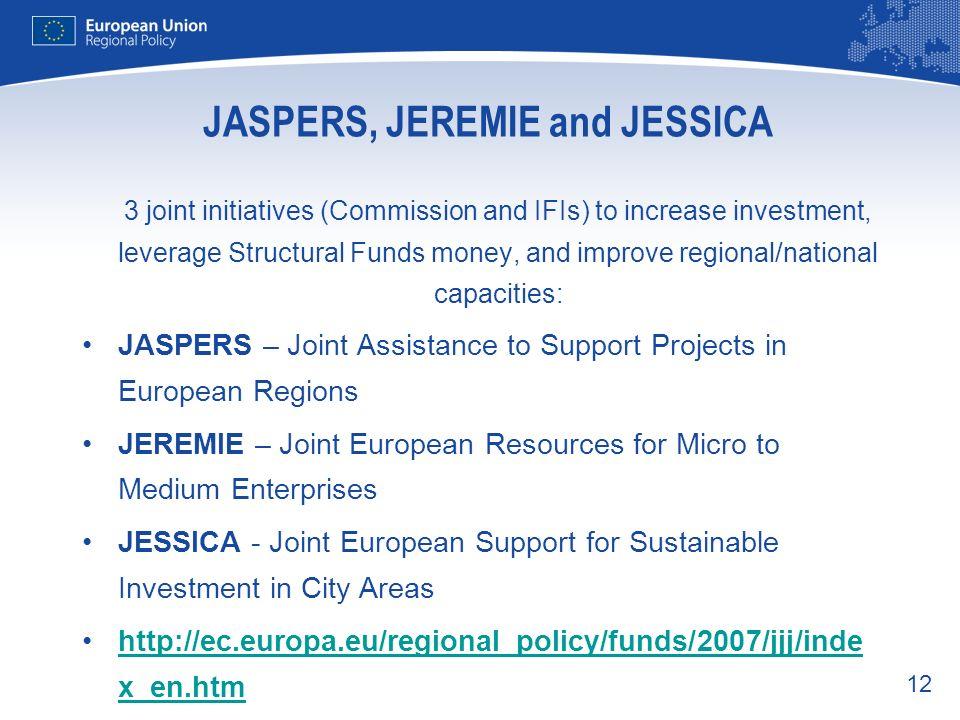 JASPERS, JEREMIE and JESSICA