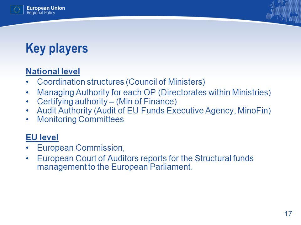 Key players National level