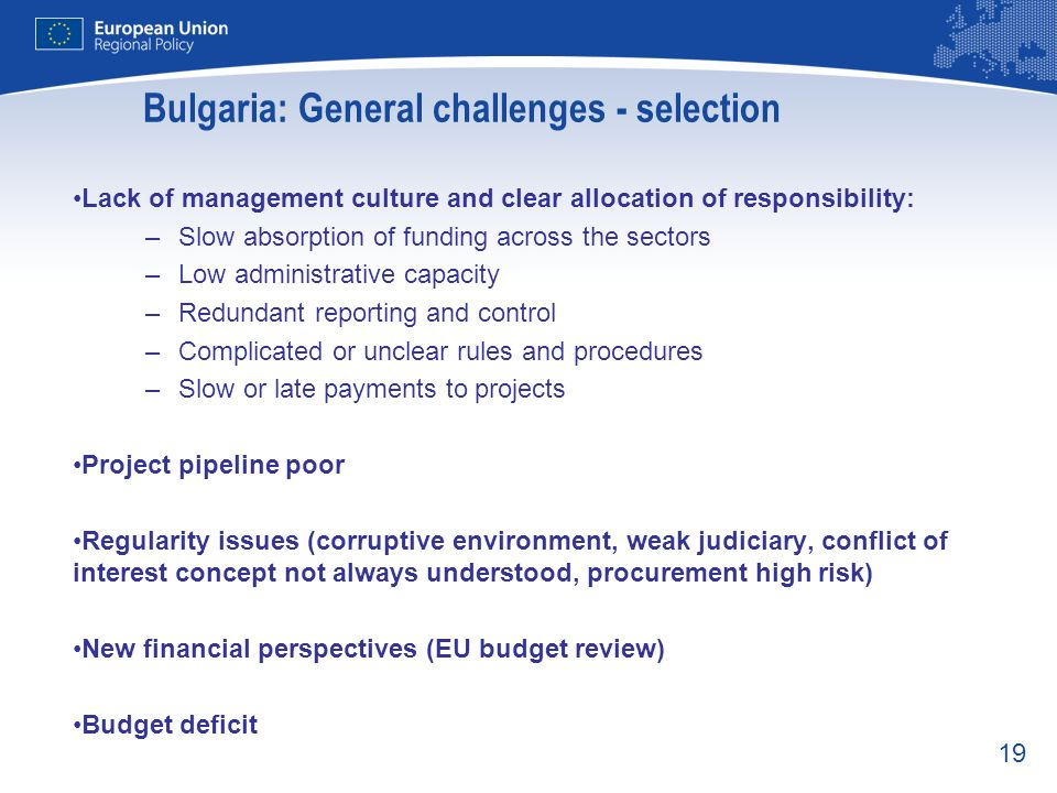 Bulgaria: General challenges - selection