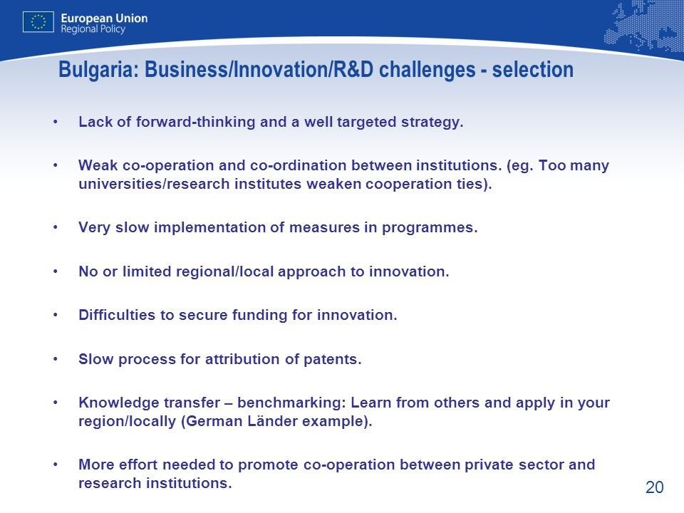 Bulgaria: Business/Innovation/R&D challenges - selection