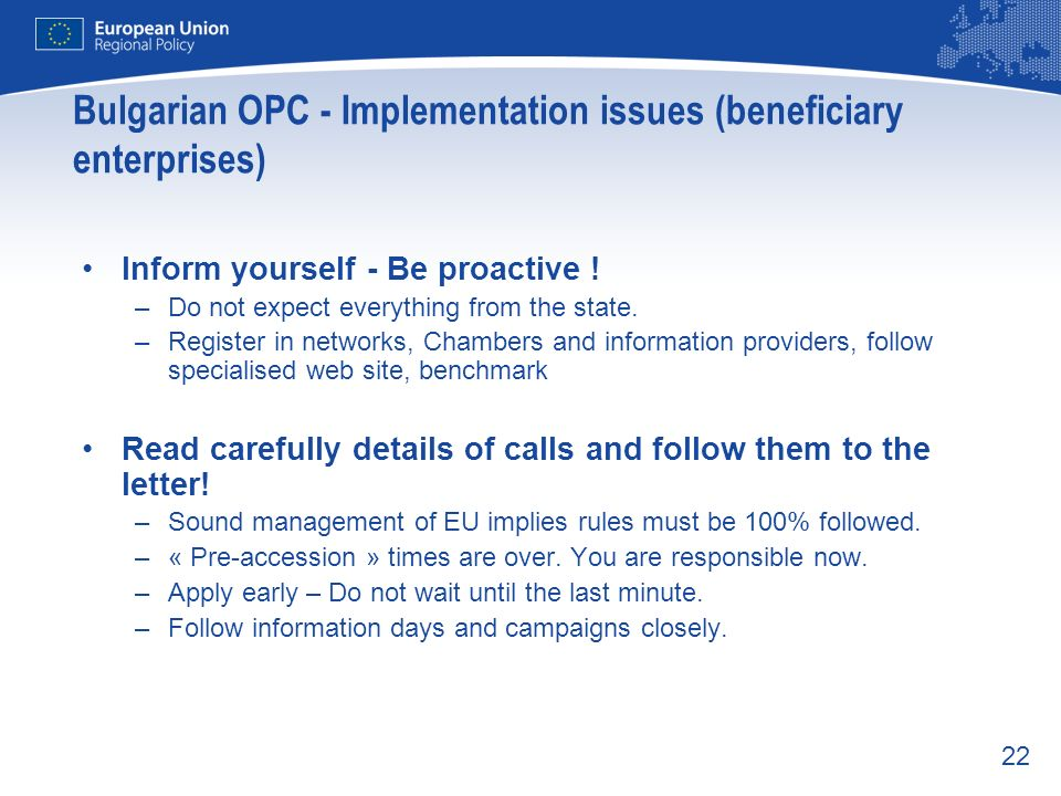 Bulgarian OPC - Implementation issues (beneficiary enterprises)