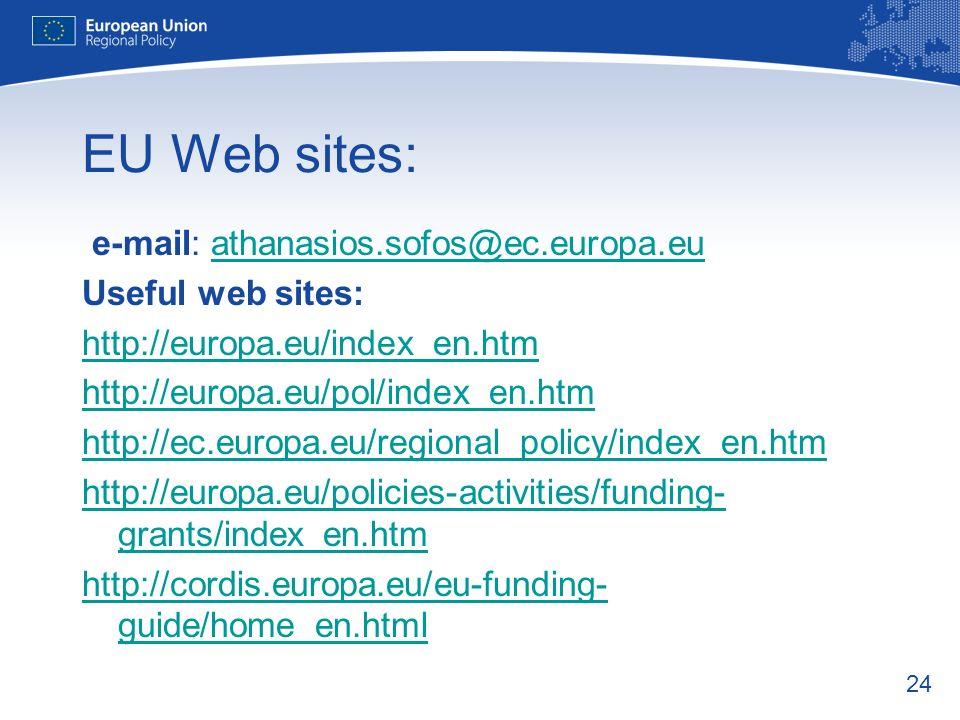 EU Web sites: e-mail: athanasios.sofos@ec.europa.eu Useful web sites: