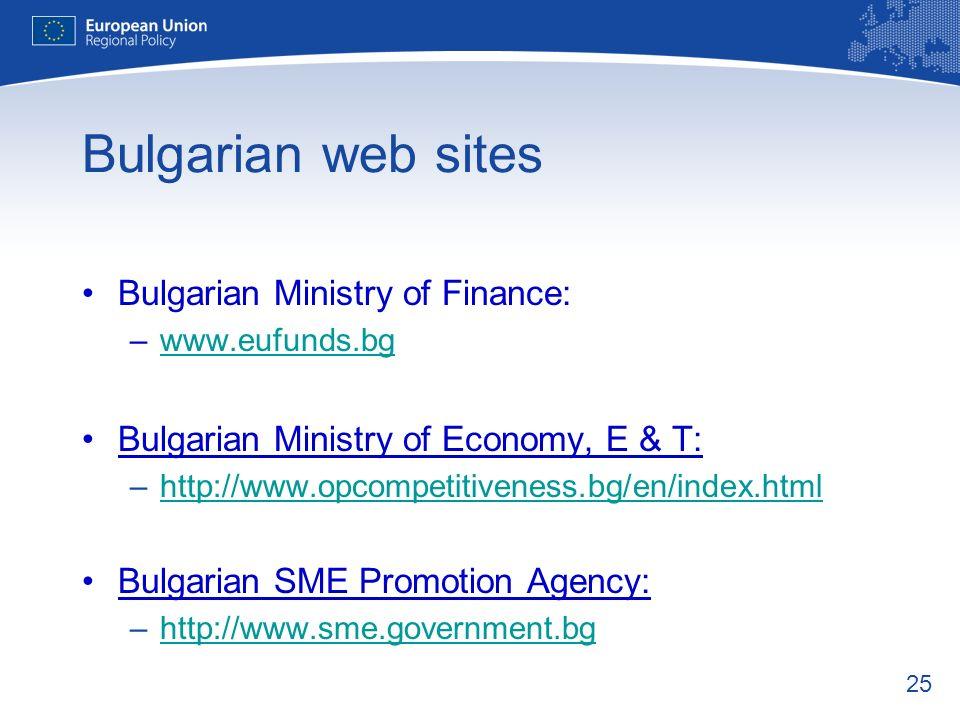Bulgarian web sites Bulgarian Ministry of Finance: