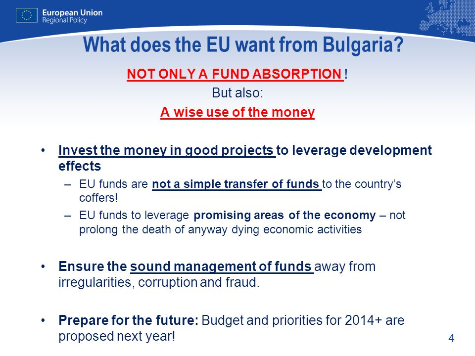 What does the EU want from Bulgaria