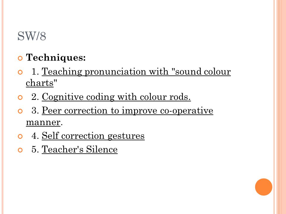 SW/8 Techniques: 1. Teaching pronunciation with sound colour charts