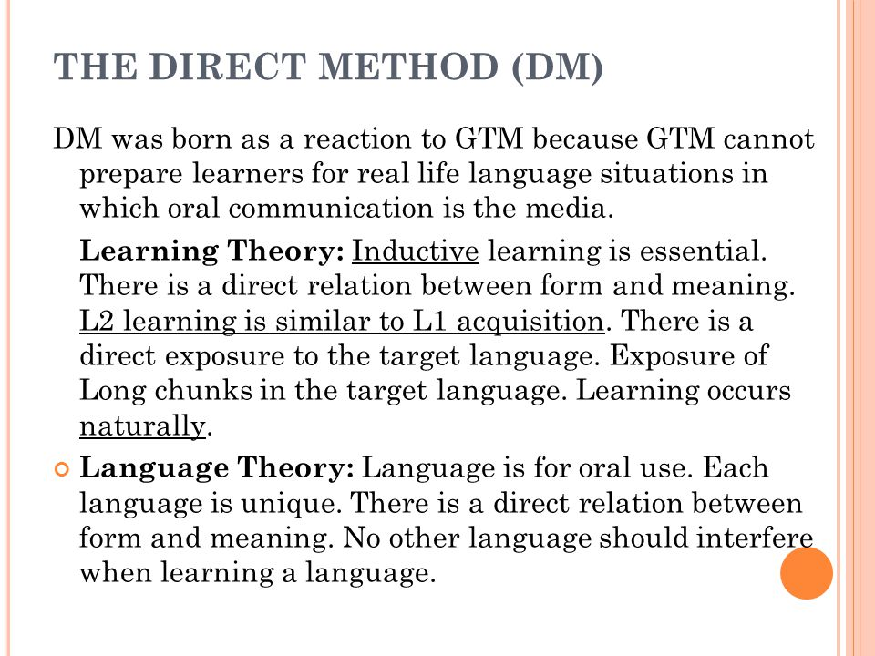 THE DIRECT METHOD (DM)