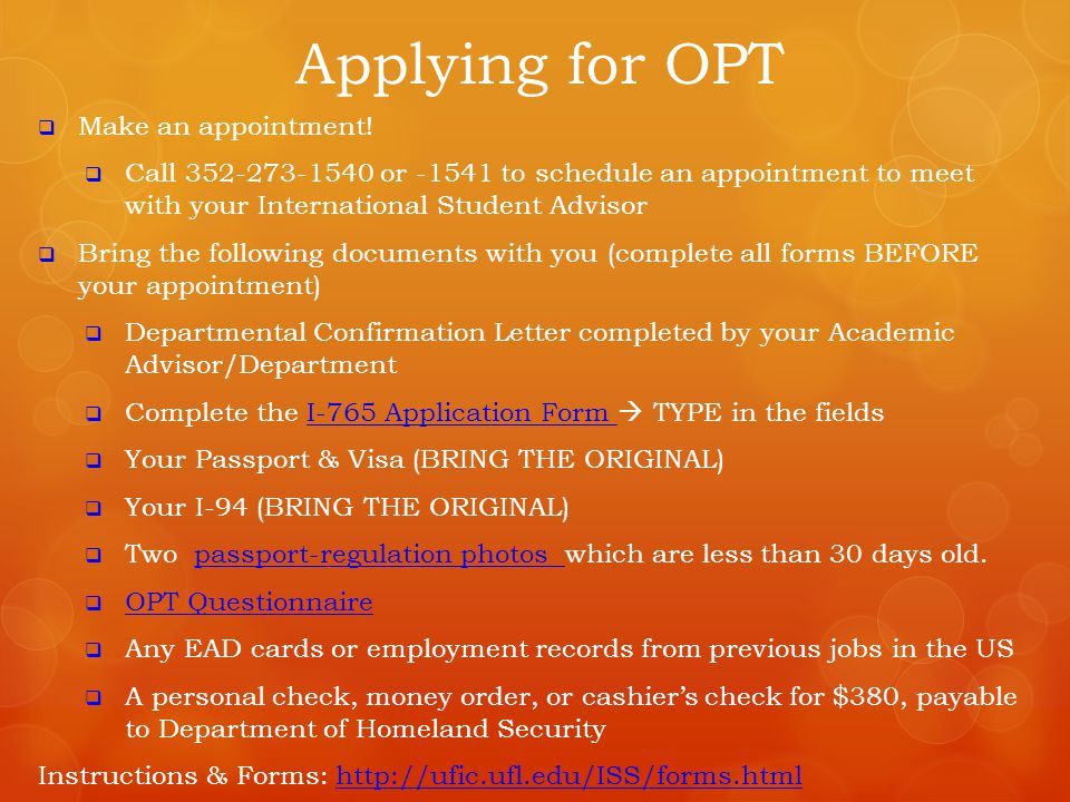 Applying for OPT Make an appointment!
