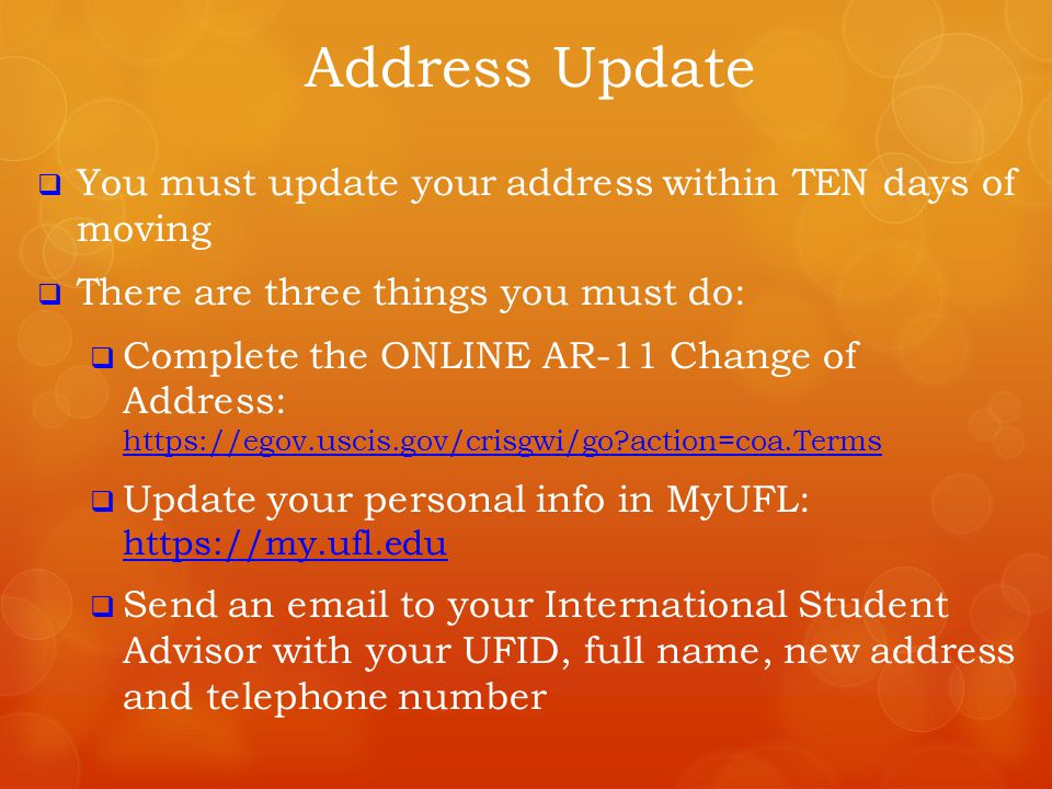 Address Update You must update your address within TEN days of moving