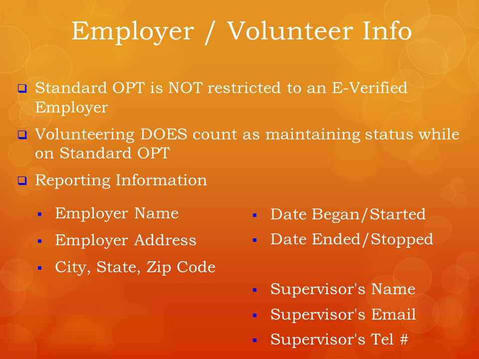 Employer / Volunteer Info