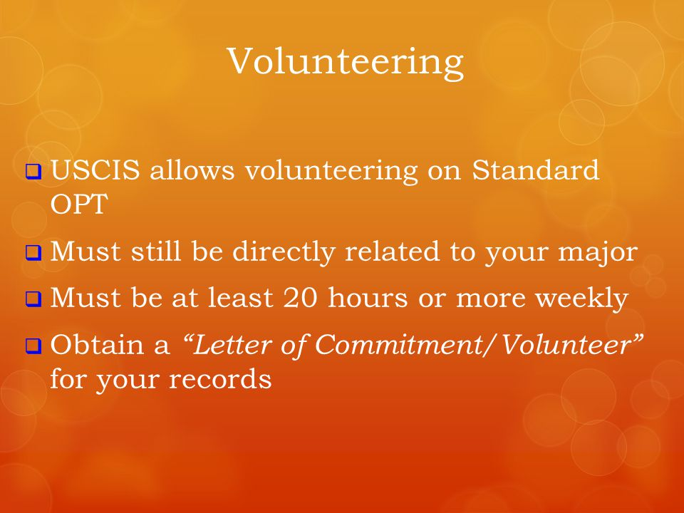 Volunteering USCIS allows volunteering on Standard OPT