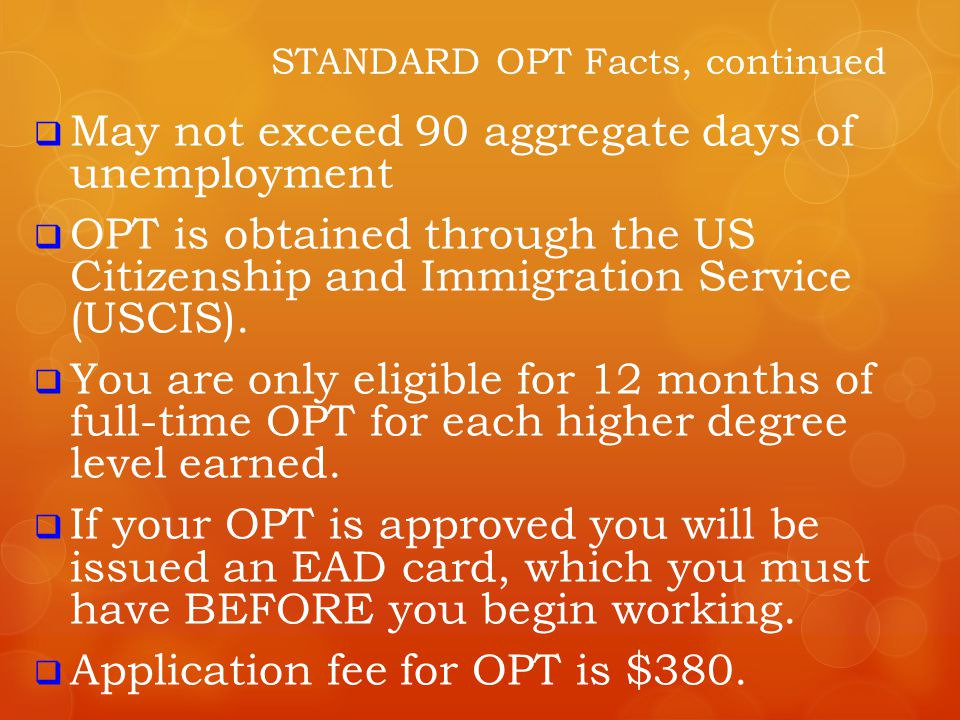 STANDARD OPT Facts, continued