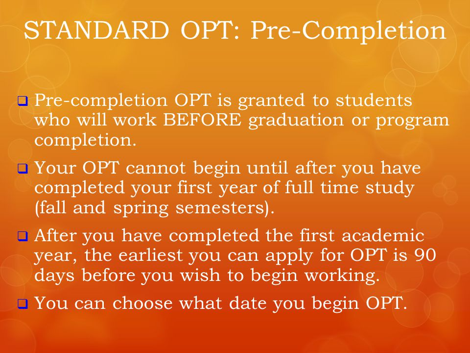 STANDARD OPT: Pre-Completion