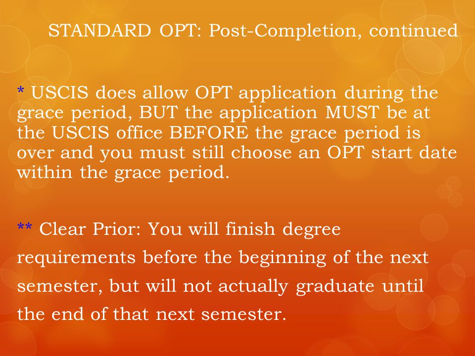 STANDARD OPT: Post-Completion, continued