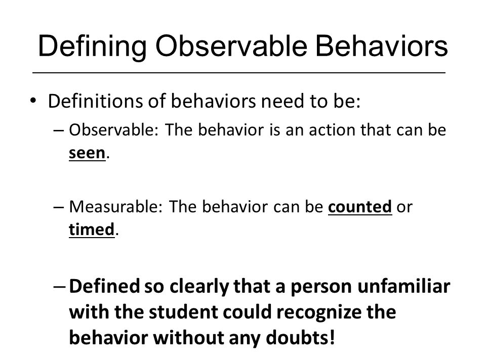 Defining Observable Behaviors