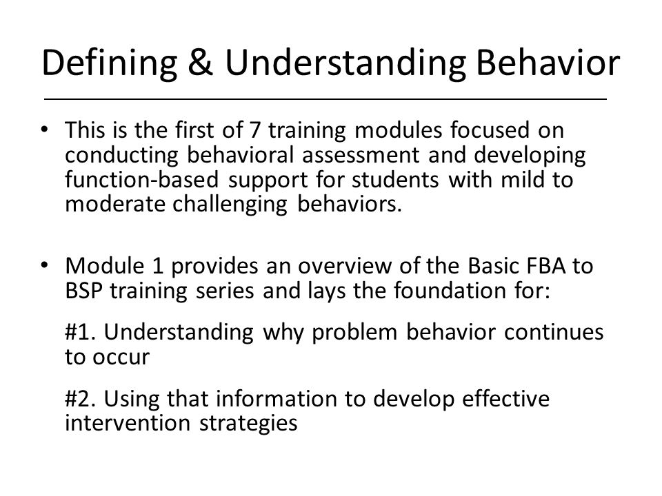 Defining & Understanding Behavior