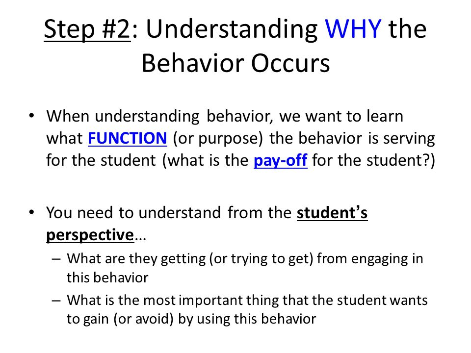 Step #2: Understanding WHY the Behavior Occurs