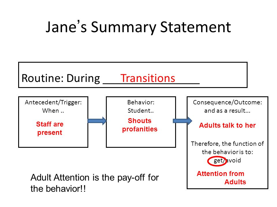 Jane's Summary Statement