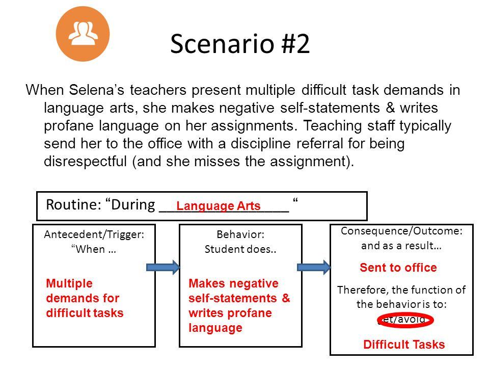 Scenario #2 Routine: During ________________