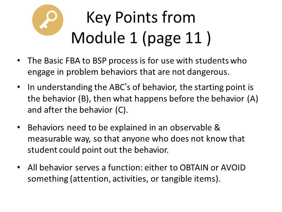 Key Points from Module 1 (page 11 )