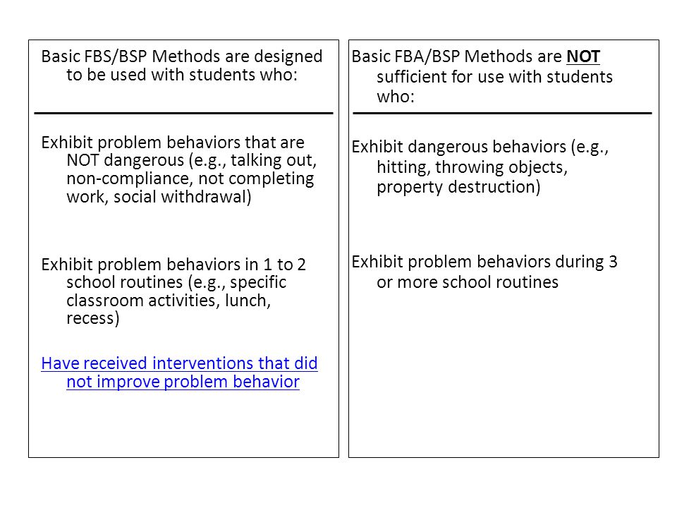 Basic FBS/BSP Methods are designed to be used with students who: