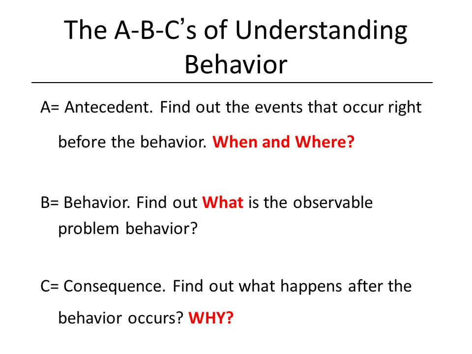 The A-B-C's of Understanding Behavior