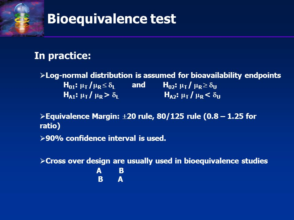 Bioequivalence test In practice: