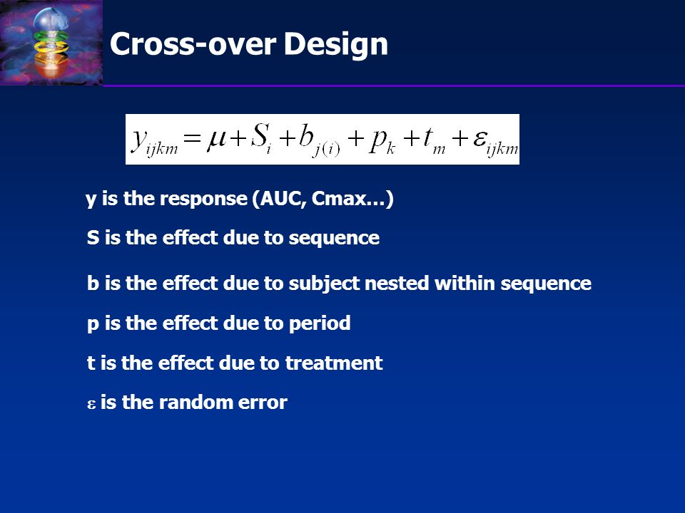 Cross-over Design y is the response (AUC, Cmax…)