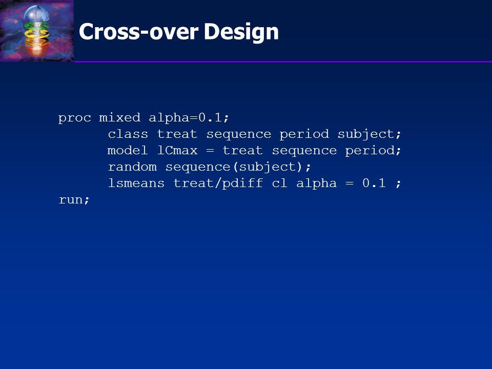 Cross-over Design proc mixed alpha=0.1;